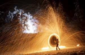 85 – (A fire show in Pyhätunturi fell in Finnish Lapland for the celebration of the New Year 2019)