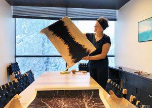 Tea, me, framing newest canvas prints in Koli – 2331