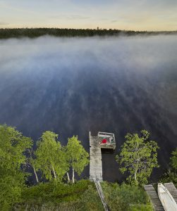 """801-803 – Early morning at 3 am at Lake Huttujärvi in Pyhä-Luosto National Park. This is a """"selfie."""""""