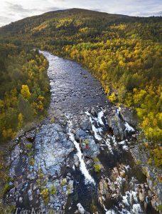583-585 – Tsarssijoki river waterfall in Kevo Strict Nature Reserve (luonnonpuisto) in Inari