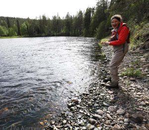 1244 – Fly fishing in Kuusinki river, Kuusamo. I just got a catch here!!