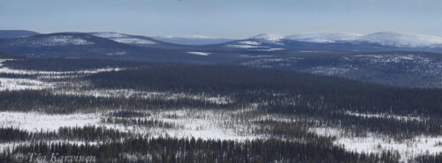 5536-5539 – The so called Old Salla fell area seen in Russia. I took the panorama from the top of the higher Sallatunturi in Finland.